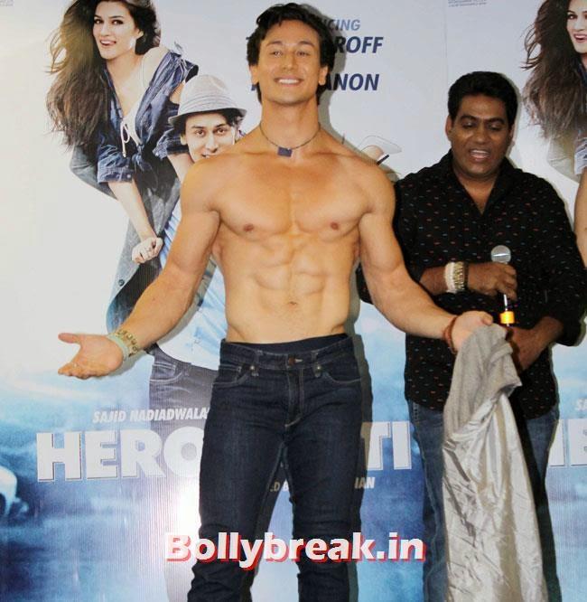 Tiger Shroff, Kriti Sanon sizzles in Green Tank Top at Promotion of Film Heropanti