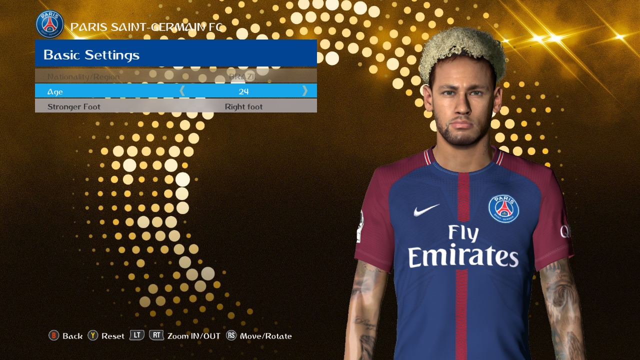 PES 2017 Neymar FacePack by Ahmed Tattoo & Facemaker