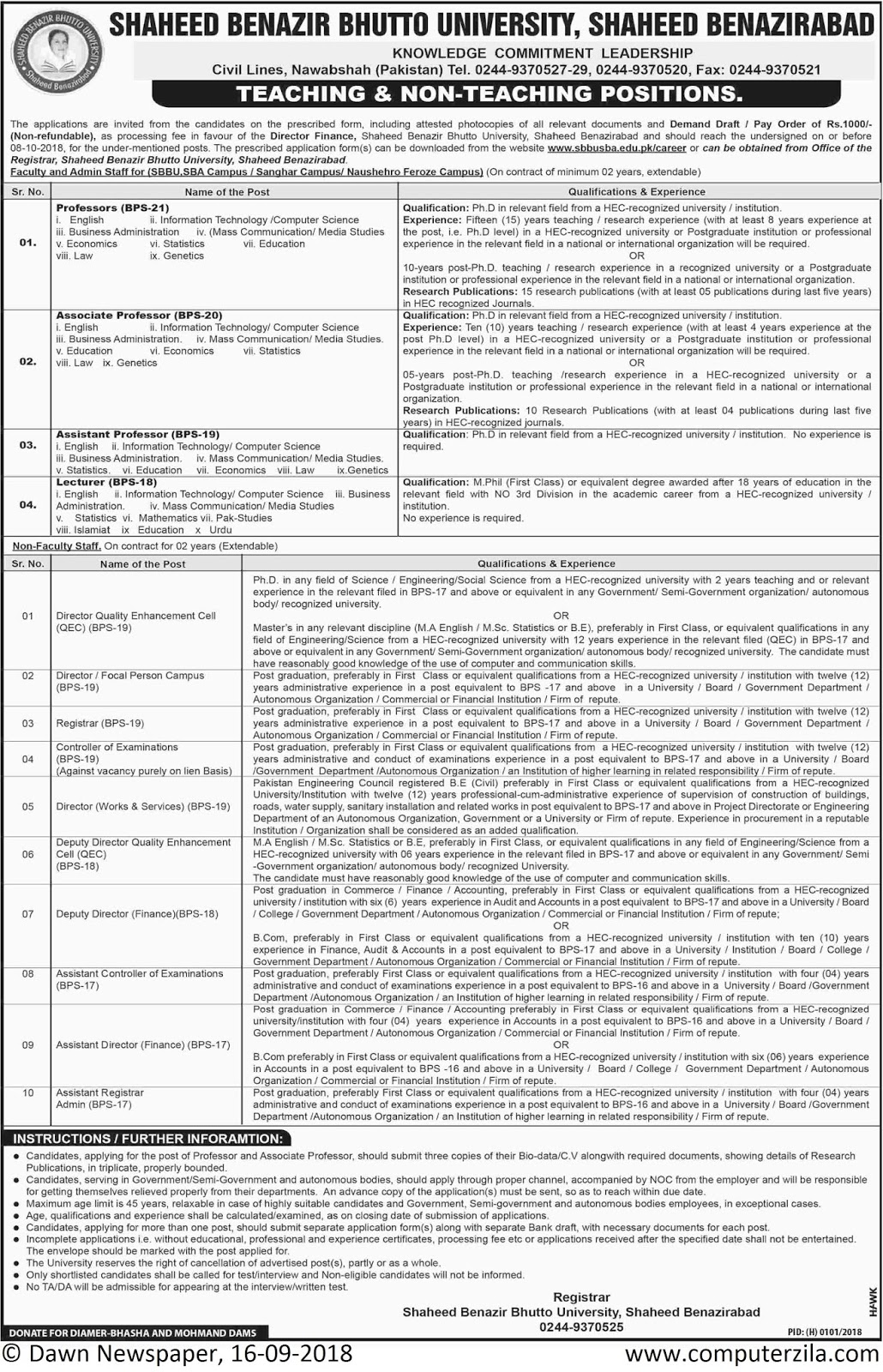 Teaching & Non-Teaching Positions at Shaheed Benazir Bhutto University, Shaheed Benazirabad