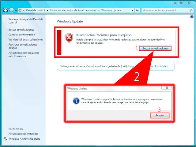 Windows Update no puede buscar actualizaciones porque el servicio no se está ejecutando. Puede que tenga que reiniciar el equipo.