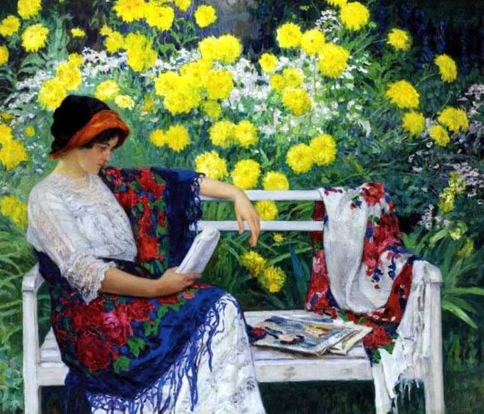 Nikolai Petrovich Bogdanov - Reading in the Garden, 1915