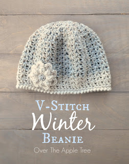V-stitch Winter Beanie, free pattern, Over The Apple Tree