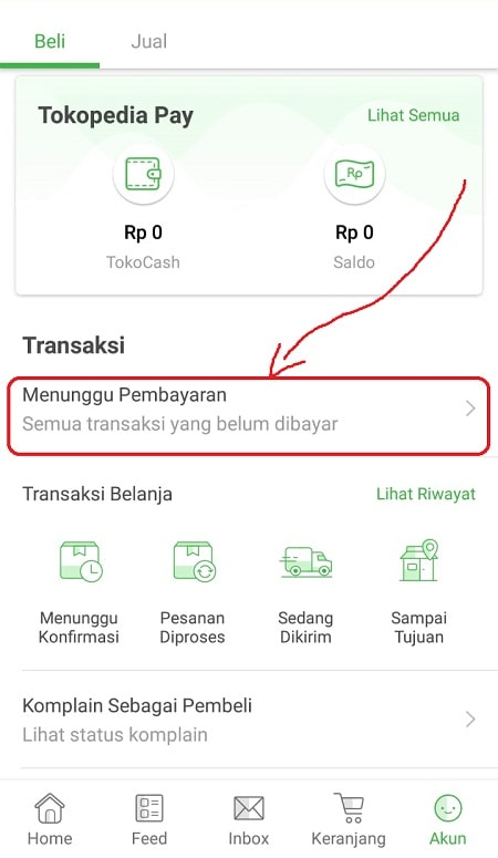 Klik Menu Menunggu Pembayaran di Tokopedia