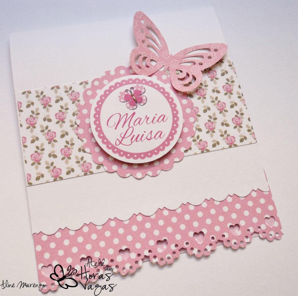 convite artesanal aniversário infantil jardim encantado borboletas floral rosa
