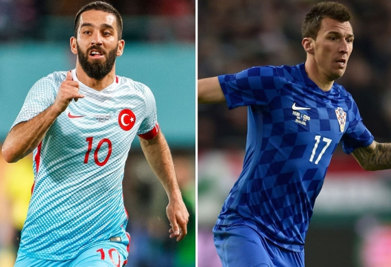 Arda Turan and Mario Mandzukic - Turkey vs Croatia