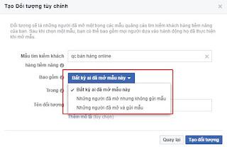 tạo tệp đối tượng khách hàng trên Facebook