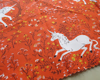 Fabric choice for a mini tote bag - Unicorn fabric from Far far away collection by Heather Ross