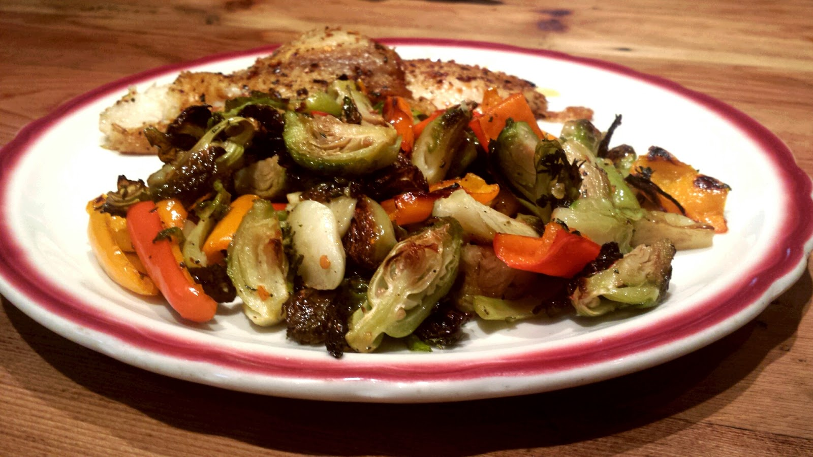 Roasted Brussels Sprouts with Sweet Peppers - Buff Dudes