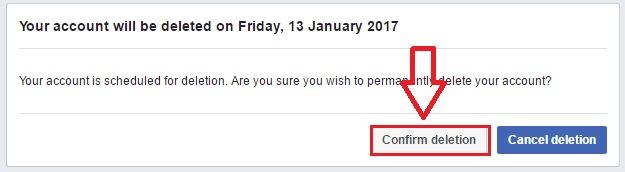 facebook account permanently delete confirm kare