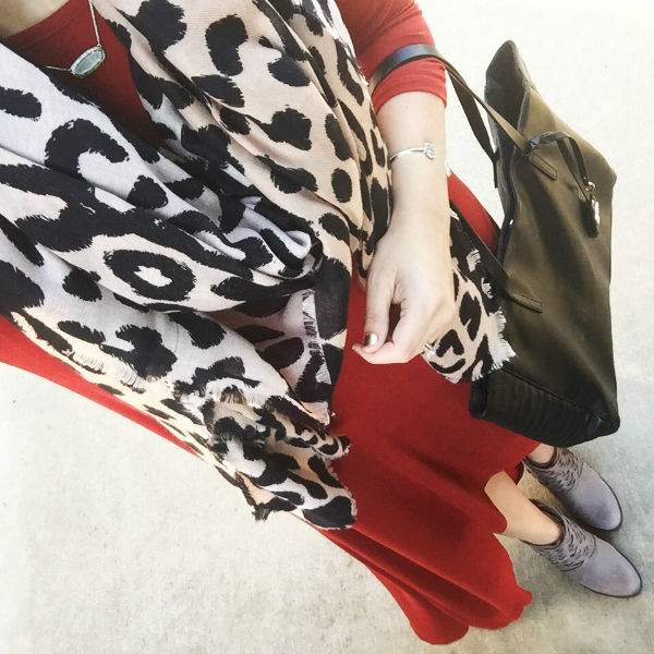 leopard scarf, red maxi dress