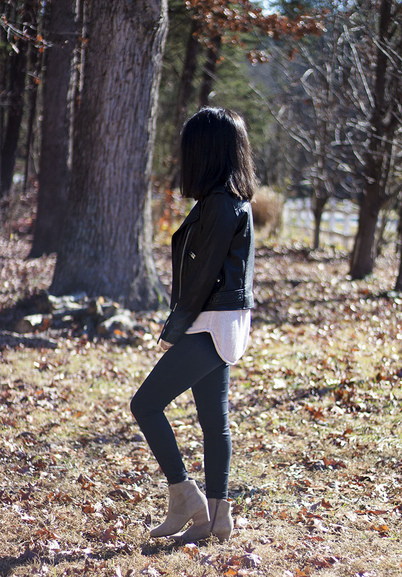 Ray Ban Sunglasses Topshop Jeans H&M Sweater All Saints Jacket Aldo Booties
