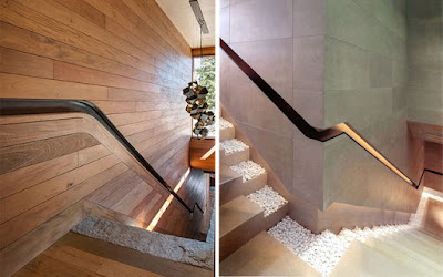 contemporary stair handrails ideas integrated into the wall