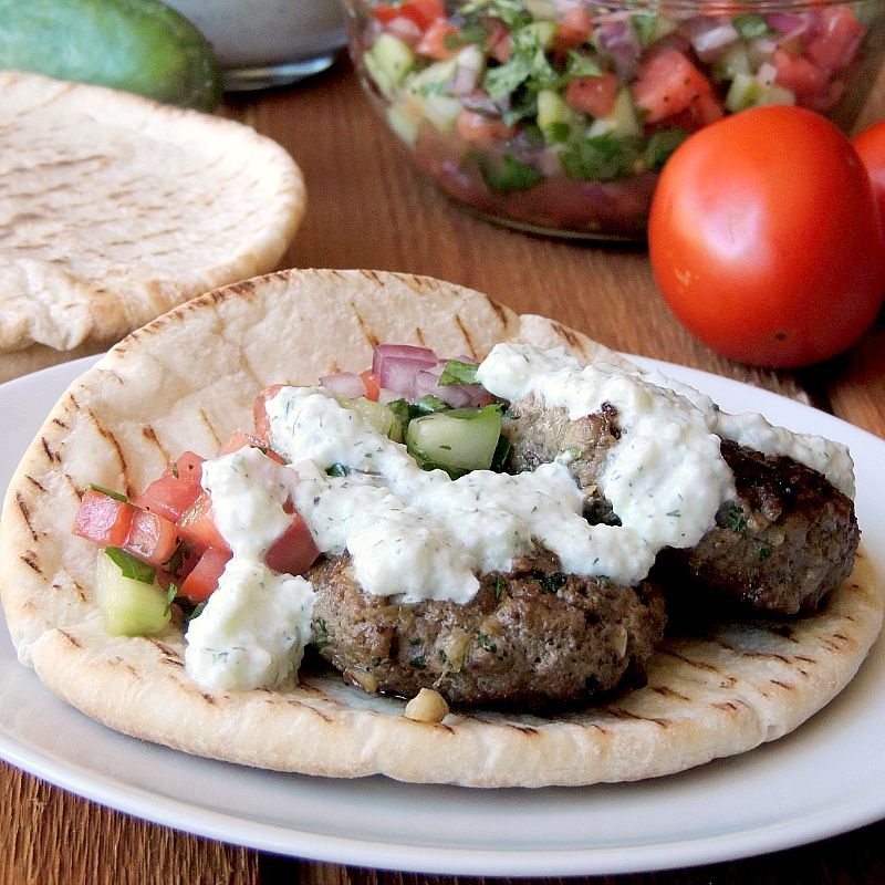 Beef Kofta with Tzatziki and Cucumber Tomato Relish from www.bobbiskozykitchen.com