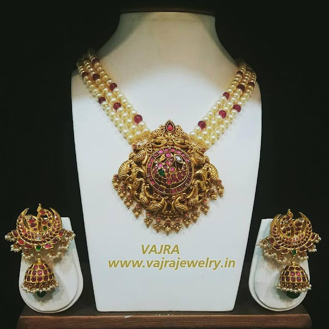 Pearls Set with Heavy Jhumkas by Vajra