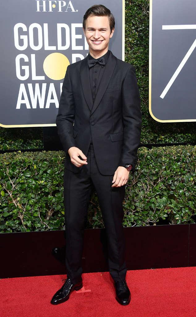 Golden Globes 2018, Red Carpet, Alfombra Roja, Tuxedos, Trajes, Ternos, Hombres, Looks, Outfits, Premiación, Masculinos, Estilismos, Vestir bien, Ansel Elgort