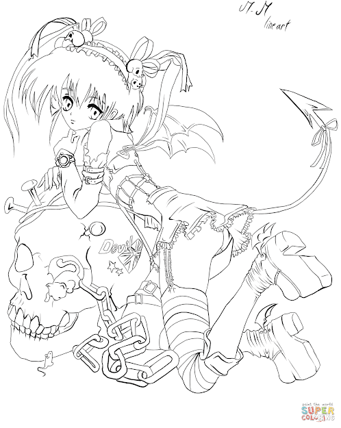 Click The Anime Demon Girl By Gabriela Gogonea Coloring Pages