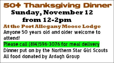 11-12 50+ Thanksgiving Dinner, Moose, Port Allegany