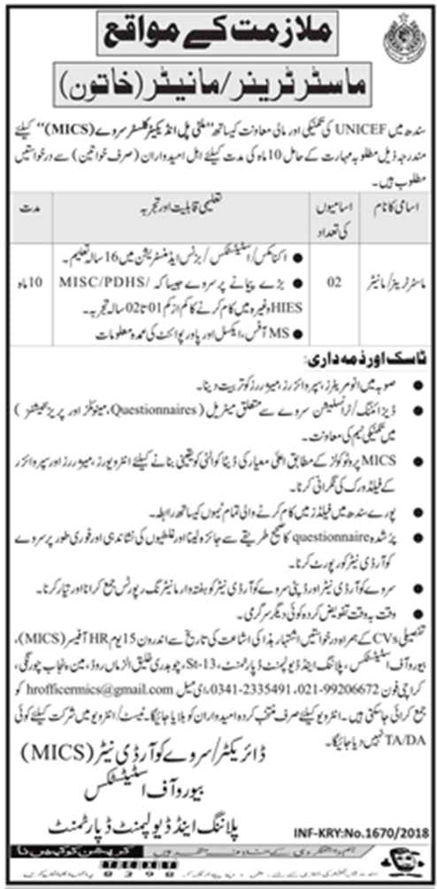 Jobs In Planning And Development Department Sindh March 2018