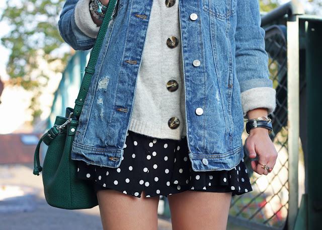 veste-oversize-stradivarius-maille-robe-pois-zara- look-mode-fashion-blog