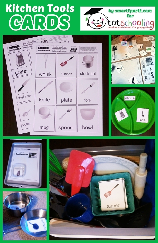 FREE printable Kitchen tools cards for sorting, matching and learning about cooking and preparing food.