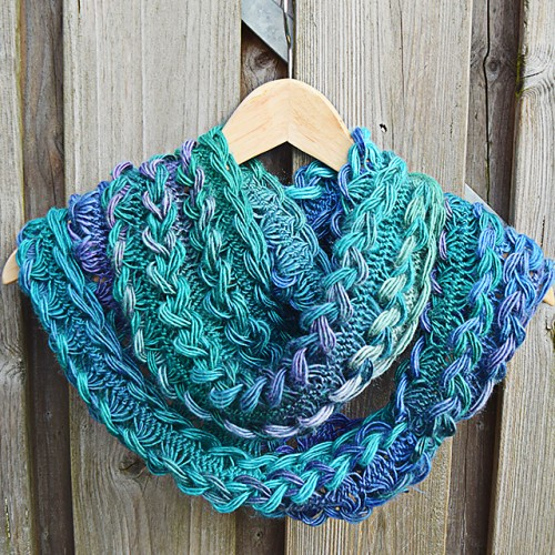 Blue-tiful Braided Hairpin Lace Infinity Scarf - Free Pattern