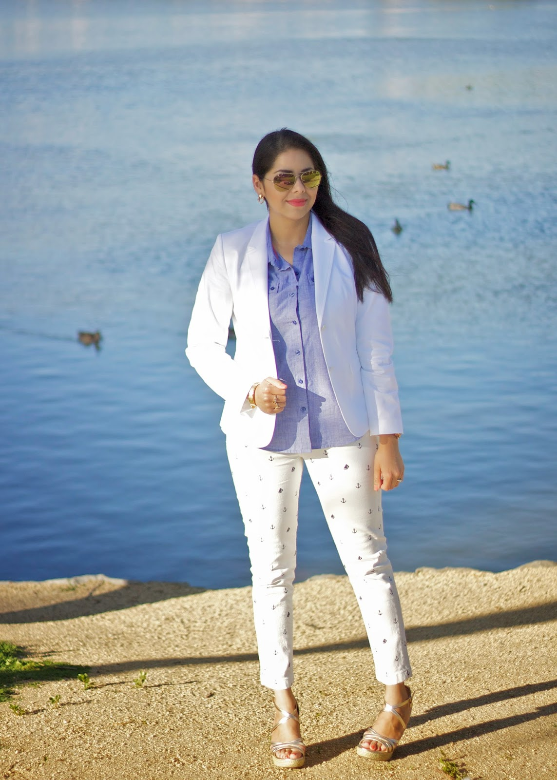 Tommy Hilfiger Summer white look, anchor printed pants, sailor themed pants