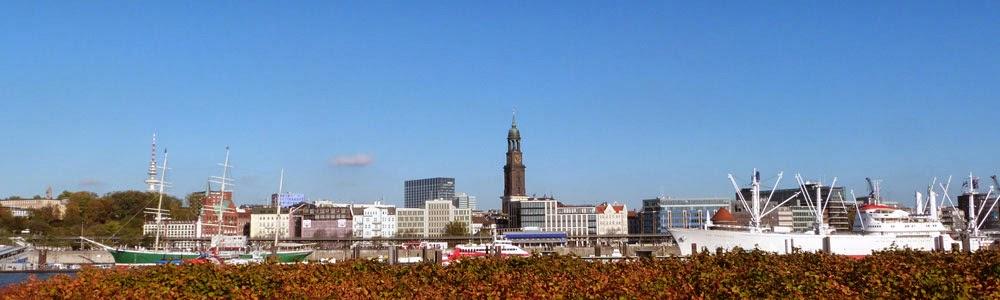Blick auf die Hamburg Skyline bei schönem Wetter