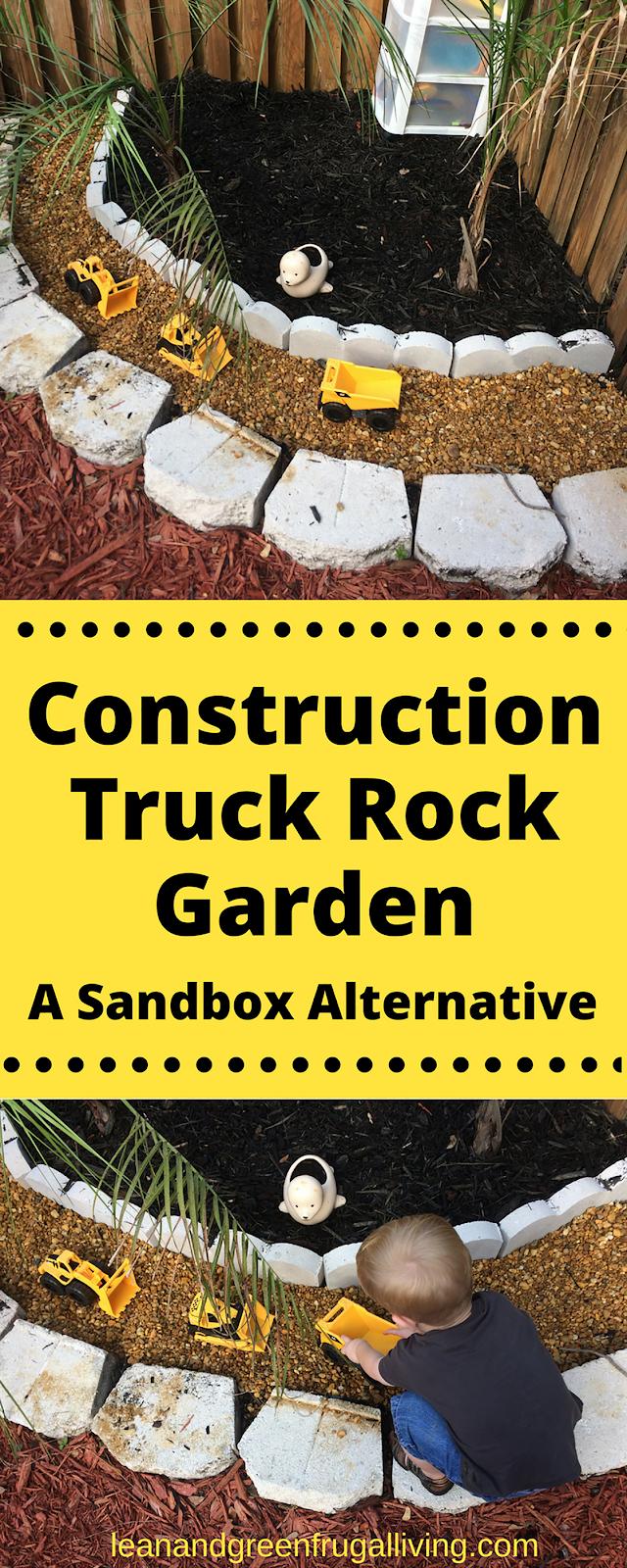 Construction Truck Rock Garden: A Sandbox Alternative
