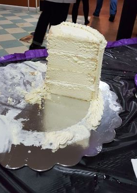 White Almond Sour Cream Wedding Cake