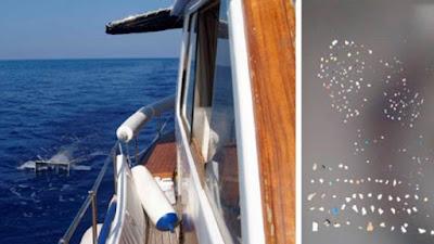 Toma de muestras de la superficie del Mediterráneo (izq.) y algunos de los plásticos encontrados en el Mediterráneo.