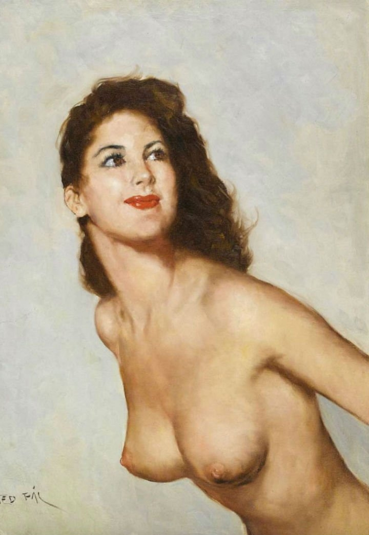 Pál Fried 1893-1976 | Hungarian-born American painter | Nude portrait