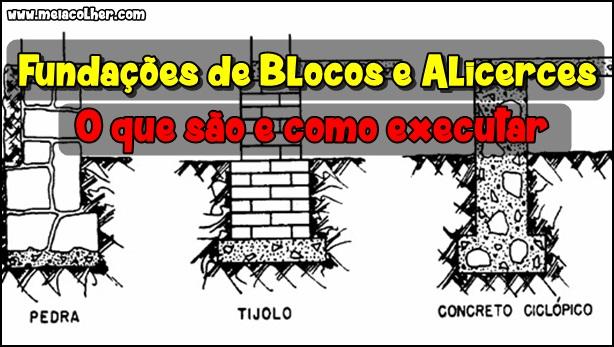 fundação de bloco e alicerce com pedra tijolo e concreto