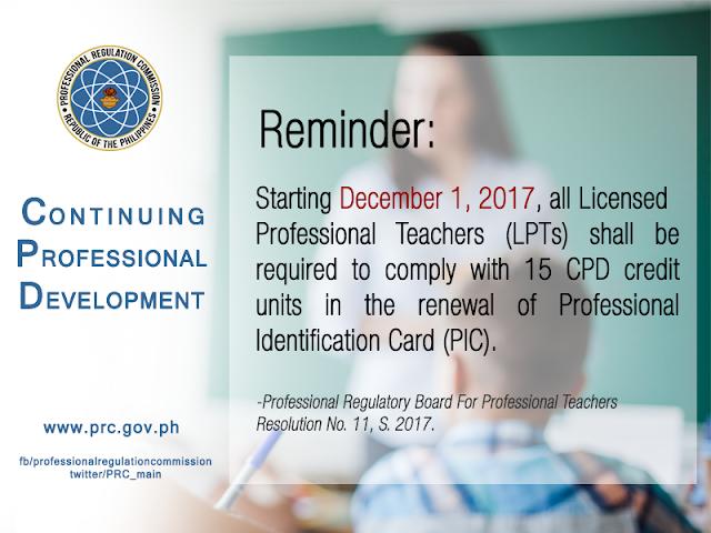 CPD Implementation reminder for Licensed Professional Teachers (LPTs)