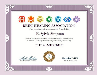 Reiki Healing Association Membership Certificate