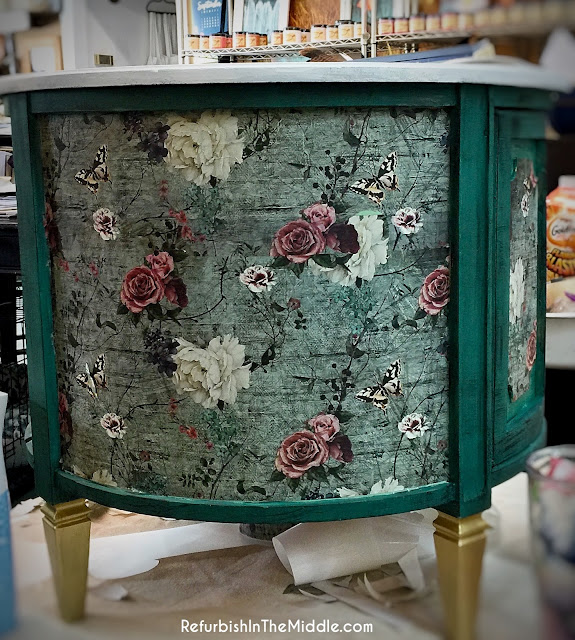 70's vintage round drum table makeover with Prima Redesign Transfers cabbage roses and butterfly