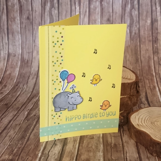 [DIY] Hippo Birdie To You! Birthday Card with hippo, birds and balloons  Tierische Geburtstagskarte mit Nilpferd, Vögeln und Luftballon