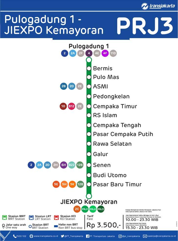 peta rute transjakarta pulogadung 1 - jiexpo kemayoran