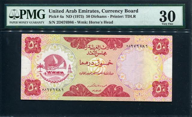 World money currency United Arab Emirates 50 Dirham banknote