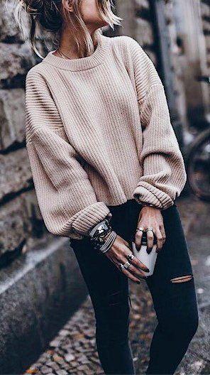 nude sweater + black rips