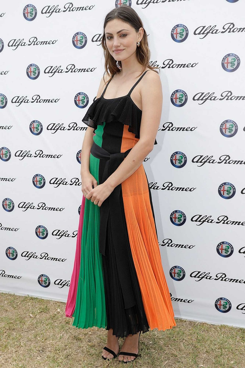 Actress Phoebe Tonkin shows off slender figure in pleated frock as she attends Portsea Polo in Melbourne