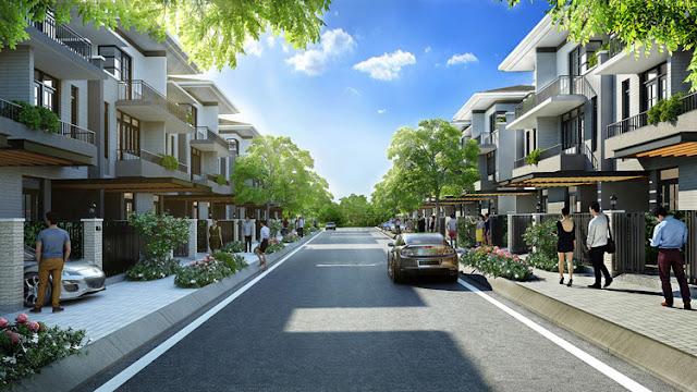 Một góc nội khu - đường nội bộ khu dự án Lavila Nam Sài Gòn.