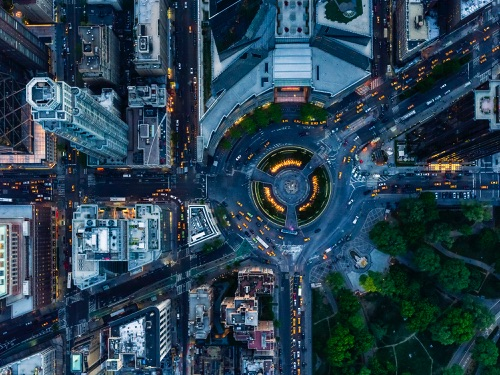 Jeffrey Milstein - NYC Columbus Circle | chidas fotos cool stuff - aerial vision of NYC