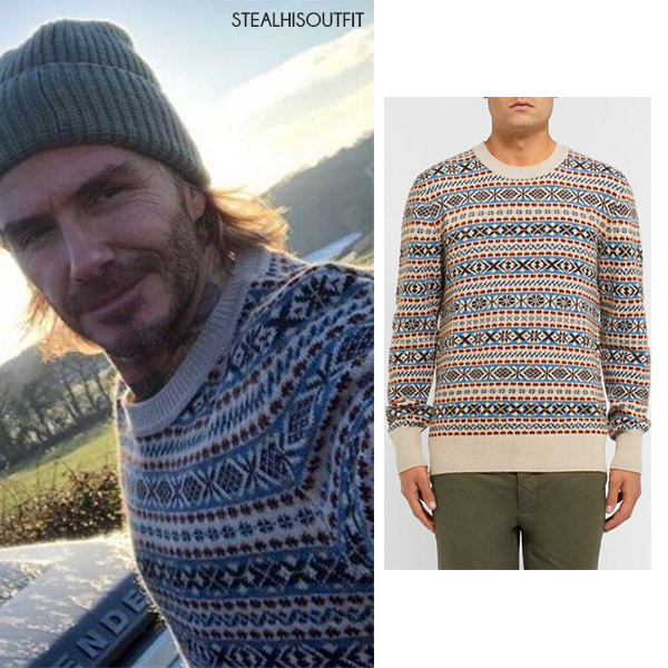 David Beckham in fair isle knit sweater December 2017 ~ Steal His ...