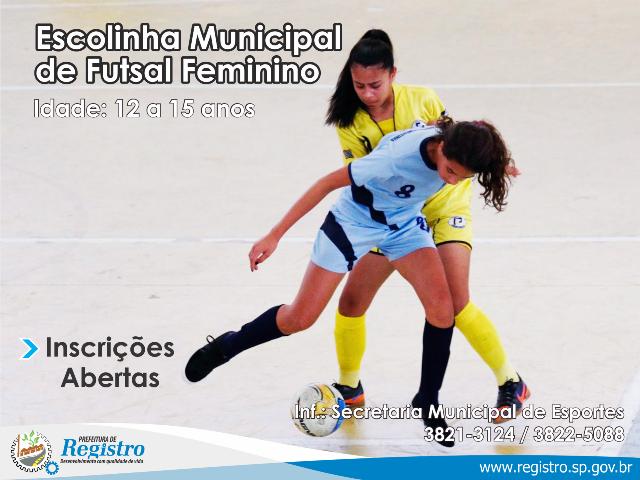 Escolinha de Futsal Feminino de Registro-SP recebe inscrições para categoria de base