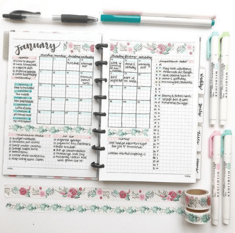 Example of Bullet Journal Monthly Spreads 1