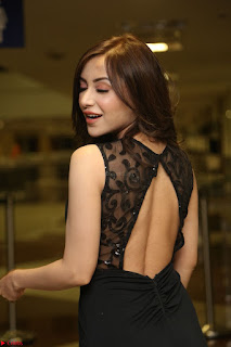 Angela Krislinzki in Transparent Black Gown at Rogue Movie Teaser Launch 1st March 2017 017.JPG