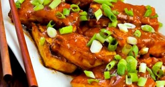 Kalyn's Kitchen®: Spicy Vegan Peanut Butter Tofu with Sriracha