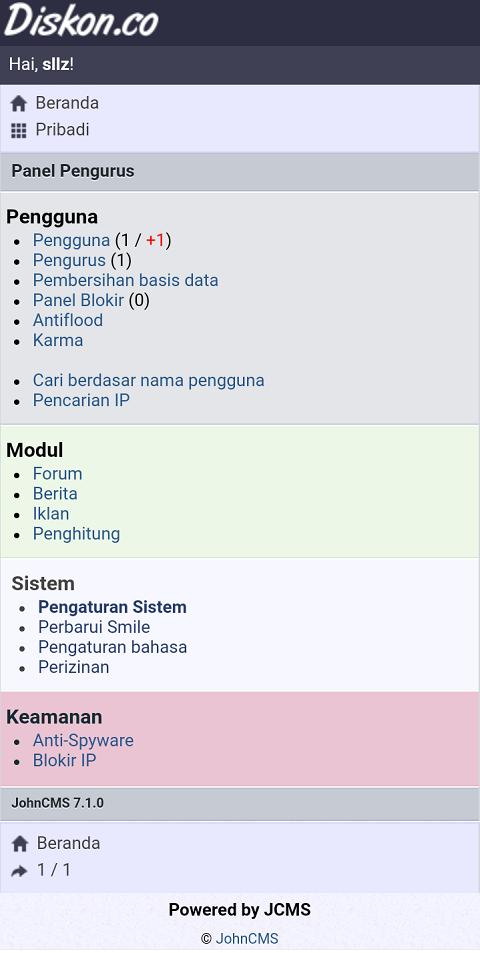 Pengaturan Admin JCMS 7