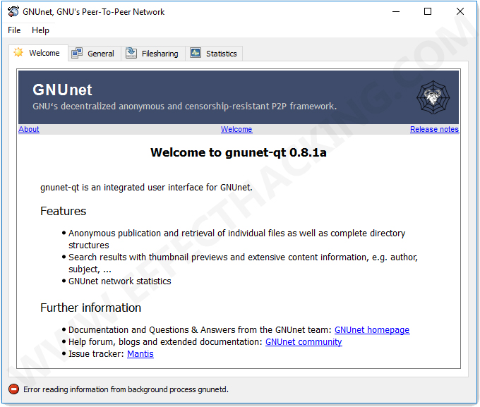 GNUnet Windows Screenshot