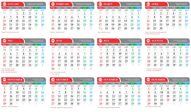 Download Kalender 2019 Lengkap Hijriyah